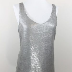New Eileen Fisher Silk Sequin Top Gray Silver S 4